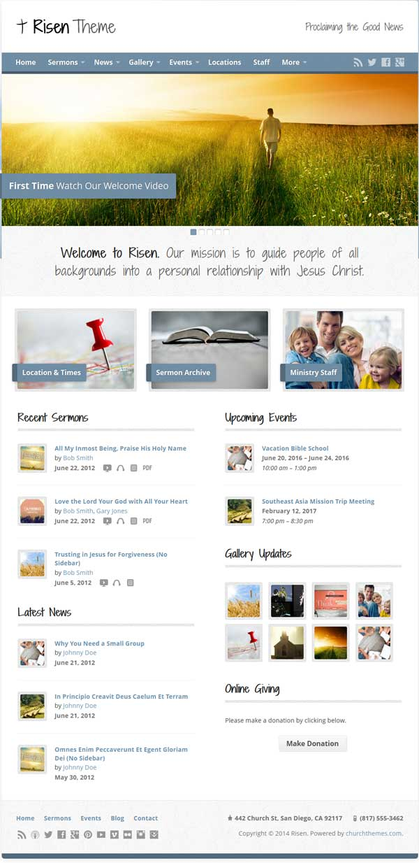 Risen WordPress theme Church