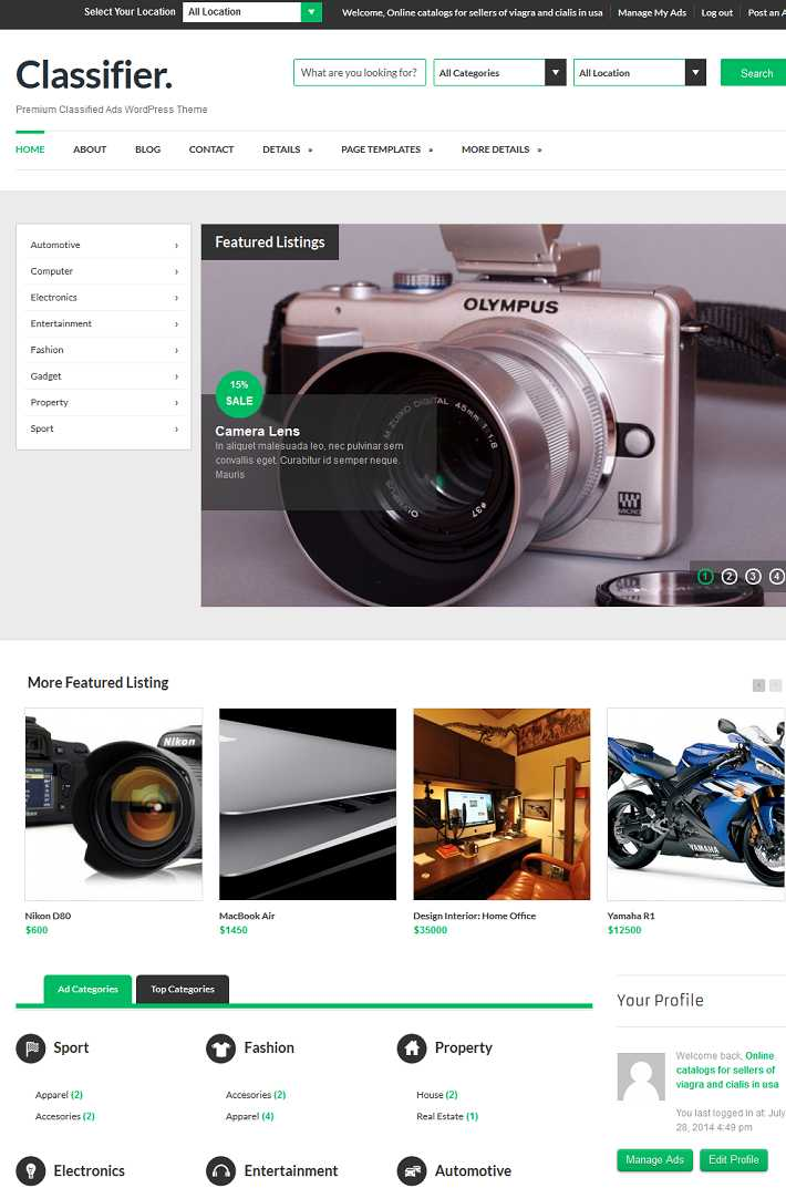 classifier WordPress theme for classified ads site