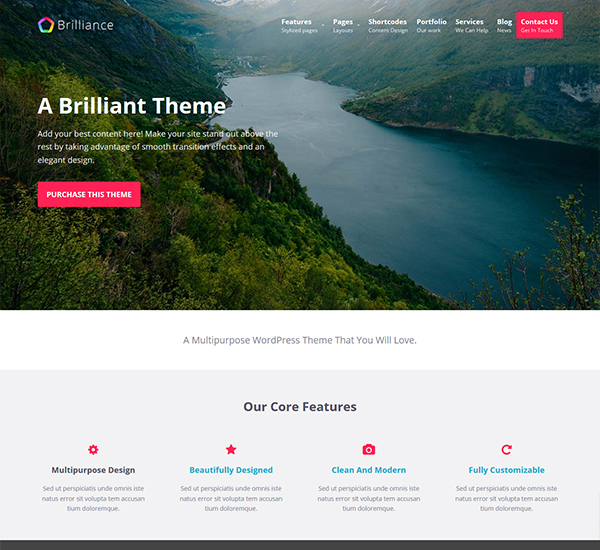 brilliance free wocommerce WordPress theme