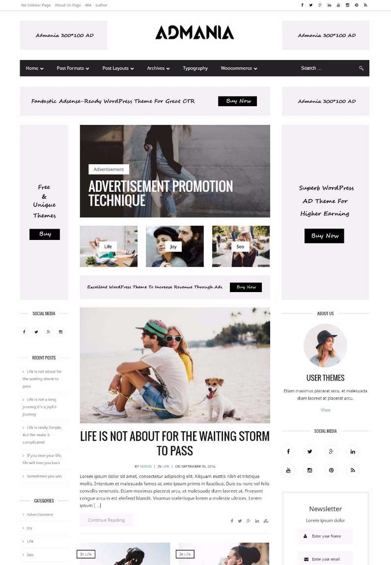 Admania Adsense ready WordPress theme