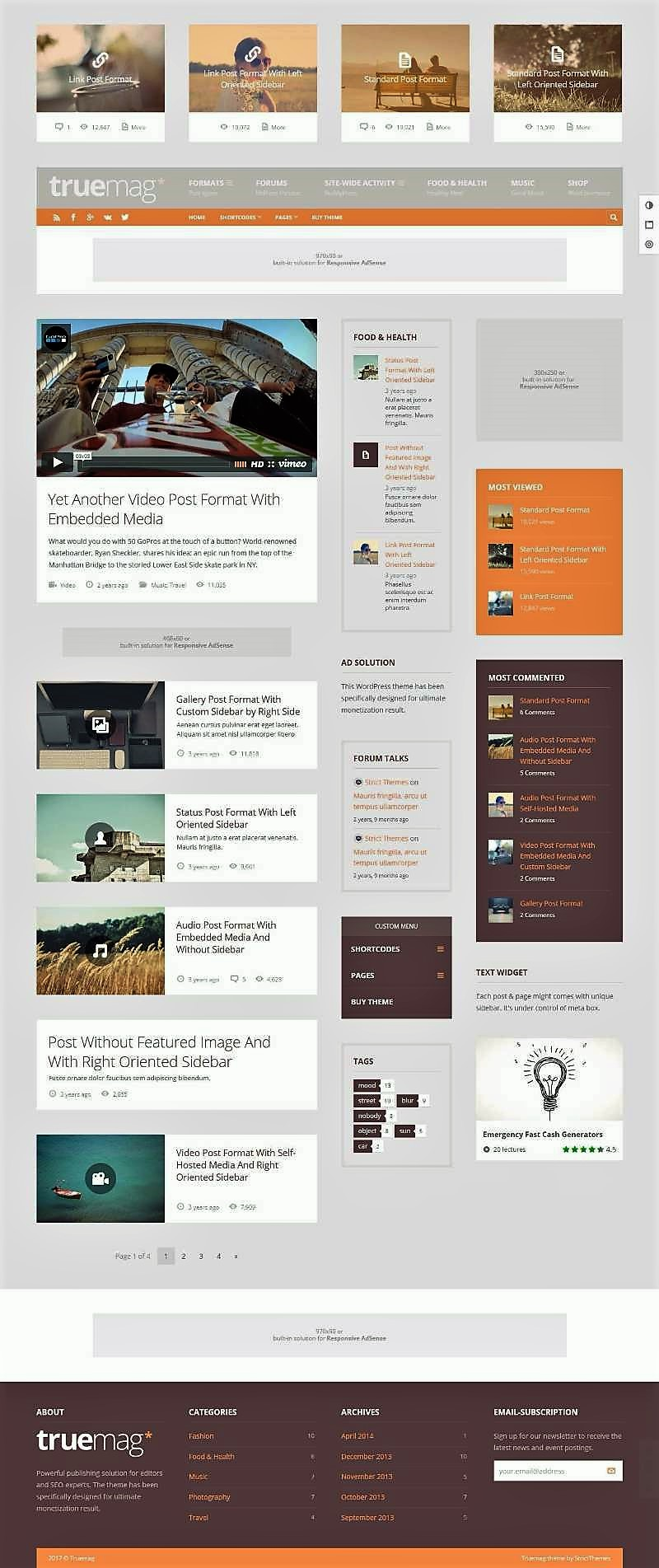 premium Adsense ready wordpress theme