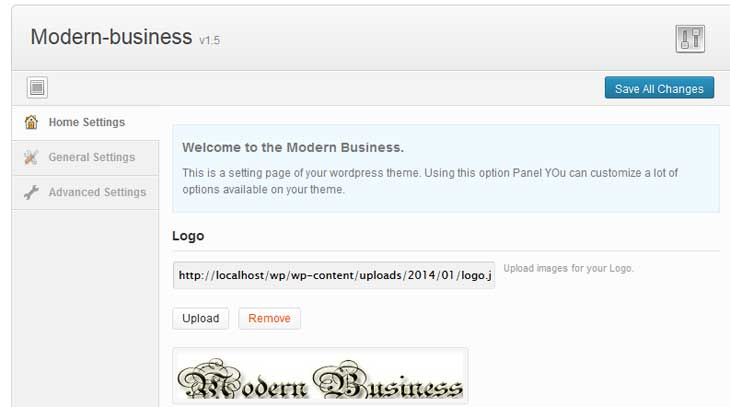 Modern-business-theme-option Panel