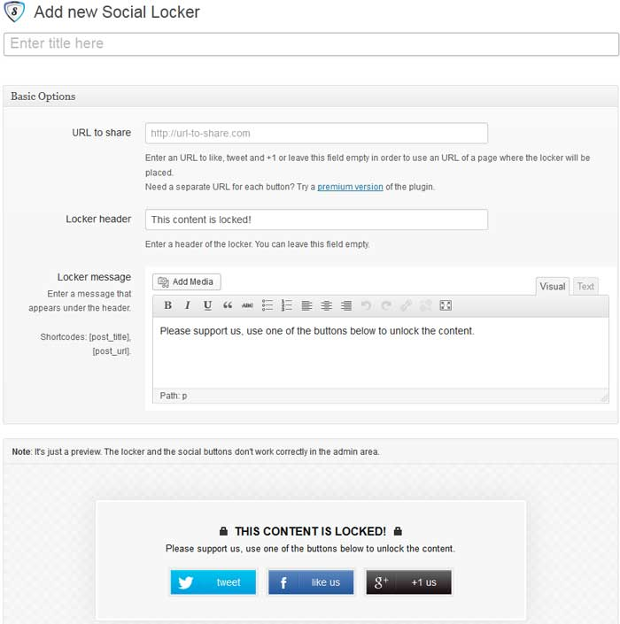 Social Share to unlock Plugin