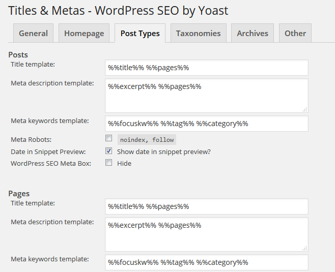 Meta Description and Meta Keyword SEO template