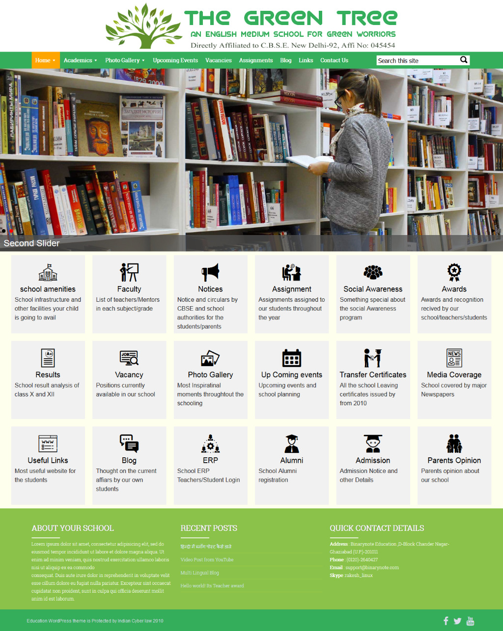 Education WordPress theme Home Page