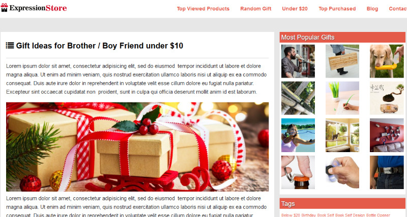 WordPress theme for Gift Gallery