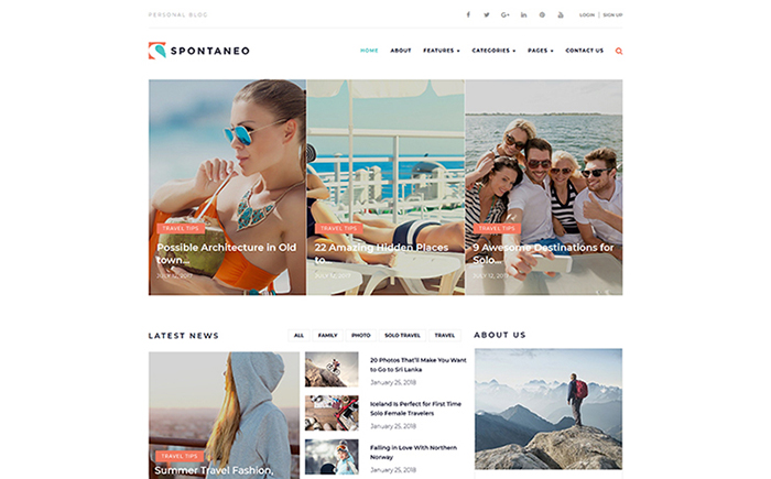Spontaneo - Personal Travel Blog WordPress Theme