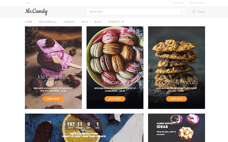 Ms.Candy - Delicicous Sweets & Candies Online Store Shopify Theme